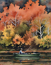 "Fly Fishing ""FALL FISHING II"" Watercolor 11 x 14 Art Print Signed DJ Rogers"