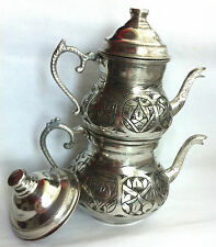 Antiquated Turkish Teapot Samovar Double Kettle Caydanlik Chiselwork on Copper