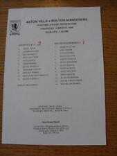 03/03/1994 Aston Villa Reserves v Bolton Wanderers Reserves  (Single Sheet, Scor