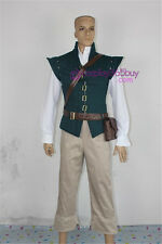 Tangled Flynn Rider Cosplay Costume dark green version include belts and bag