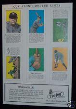 1928 Babe Ruth baseball uncut sheet Fro Joy color cards