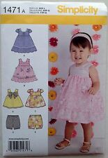 Simplicity Pattern 1471 Baby Infant Dress Sundress Bloomers Sizes XXS - L