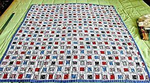 Spool Pattern Handmade Machine Quilted Red White Blue Black Folk Art Print Quilt