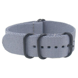 Black Ring Buckle 18 20 22mm 24mm Solid Stripe Nylon Watchband Watch Straps Band