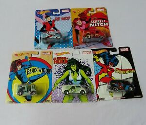 Hot Wheels  - Metal Metal - Real Riders -  Marvel - Set of 5 Female Super Hero's