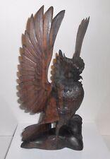 """Black Forest Wood Carved Owl Figure Antique Folk Art 12 3/4"""" Wings Up"""