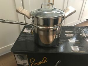 Emeril Stainless 3 Qt Saucepan steamer Tamales Pasta Insert & Lid InductioN safe