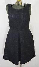 Jennifer Lopez sleeveless sheer back black dress vintage inspired size 12 tweed
