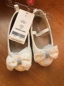 Brand New Carter's White Dress Shoes Size 5 Twinkle-CR Ivory Sparkle Bow Silver