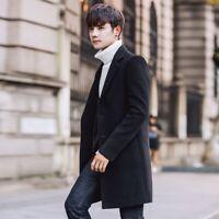 Korean Men's Fashion Wool Blend Long Trench Coat Outwear Slim Fit Overcoat Size