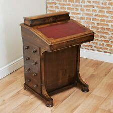 Antique Late Victorian Walnut Davenport Desk Inlaid Bureau Original W/Keys C1870