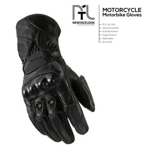 Mens Leather Motorbike Motorcycle Gloves Winter Summer Knuckle Shell Protection