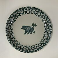 Tienshan Folk Craft Dinner Plate BEAR North Country Green Sponge 10-¼ Stoneware