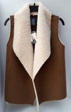 e989e7f4d08 Women Chelsea   Theodore M Medium Faux Fur Suede Brown Cream Knit Sweater  Vest