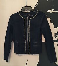 VICTORIAS SECRET NEW DENIM GOLD FAUX LEATHER CHAIN EMBELLISHED JACKET BLUE SMALL