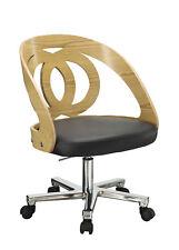 Jual Furnishings PC606 Retro Vintage Style Curve Office Desk Chair Oak