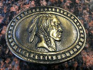 "Vintage Indian Head Solid Brass Belt Buckle 3 3/4"" X 2 3/4"" EXCELLENT CONDITION"