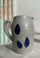 "Williamsburg Pottery Small Salt Glazed Cobalt Blue Flower Creamer/Pitcher 5""  4"""