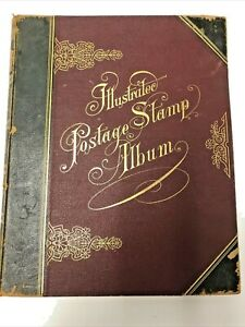 ILLUSTRATED POSTAGE STAMP ALBUM 1902 RICHARD SENF & 10TH ED. 800+ STAMPS