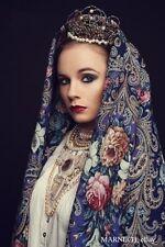 "Pure Natural 100% Woolen Pavlovo Posad Shawl 125cm/49"" Silk fringe Russian scarf"