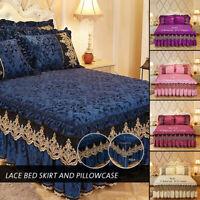 Velvet Bed Skirt Pillowcase Lace Print Dust Ruffle Bedspread Bedroom Beds Cover