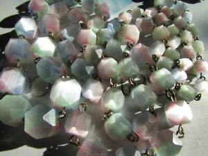 Art Deco Rhubarb Rainbow Glass Beads Czech 36 INCH LONG Bohemian Necklace