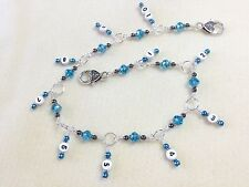 Handmade Knitting Row Counter- Aqua 1-10 Chain Style Counter- numbered marker