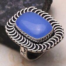 Blue Chalcedony Ethnic Gift Handmade Ring Jewelry US Size-9 AR 99433