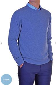 Maglia Uomo Basic Pullover Girocollo Maglione Regular Fit misto lana cachemire