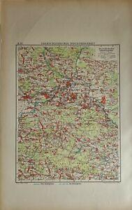1922 ANTIQUE MAP UPPER SILESIAN INDUSTRIAL AREA HINDENBURG BEUTHEN BENDIN