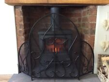 Antique Black Fire Guard Screen Surround Fireplace Mesh Vintage Chic