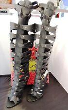 MACHI BLACK HIGH HEEL CAGED STUDDED KNEE-HIGH STRAPPY GLADIATOR SANDAL BOOTS SIZ