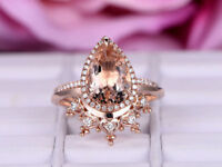 Pear Morganite Engagement Ring 14k Rose Gold Plated Halo Stackable Crown band