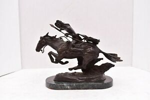 FREDERIC REMINGTON CHEYENNE Bronze Sculpture Marble BASE STATUE Horse Spear