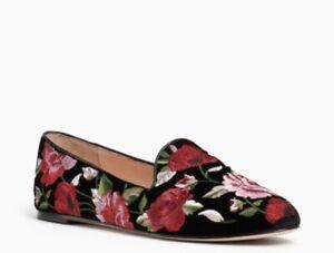 $228 Kate Spade Swinton Black Velvet Floral Slip Ones  Size 6.5 K15