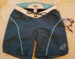 Nwts $65 FOX DIVA Girl's Size Medium Blue Padded Cycling Mountain Biking Shorts