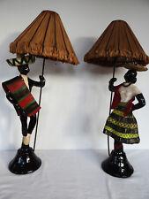 PAIRE DE LAMPES EN CERAMIQUE NOIRE ANNEES 1950 COUPLE  MEXICAIN VINTAGE C800