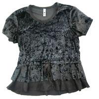 NWT Women/'s GREEN TEA Charcoal Short Sleeve Crushed Velvet Shirt Size Small S