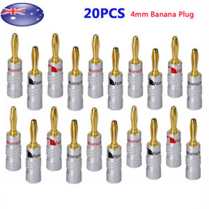 20pcs 24K Gold Plated Speaker Cable Wire Connector 4mm Banana Plug Nakamichi AU
