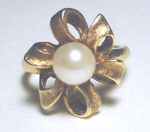 VINTAGE 14k GOLD Solitaire AKOYA  6.35mm PEARL Ribbon Flower RING 5.21 Gr SIZE 5