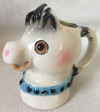 Vintage Horse CREAMER PITCHER Blue collar Ceramic with crazing no chips cracks