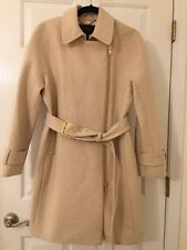 JCREW $398 Belted Zip Trench Coat Wool Melton 12P Heather Antique Ivory E5591