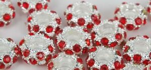 2 Crystal Rhinestone Pave Rondelle Spacer Beads Birth Stones Colors