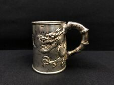 Gorgeous Antique Chinese Silver Cup With Amazing Decorative Dragon Design