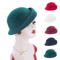 Womens Vintage Style 100% Wool Felt Beret Derby Solid Hat Millinery Craft A553