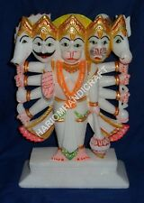 """8"""" Marble Panchmukhi Hanuman Alabaster Indian Handpainted Religious Gifts E824A"""