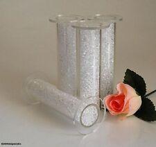 "4 CLEAR CRYSTAL FILLED ACRYLIC CAKE PILLARS WEDDING 3"""