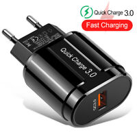 5V 3A Fast Charging 1 USB Port QC 3.0 EU Plug Wall Charger Phone Charge Adapter