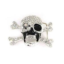 Skeleton Skull Cross Bones Clear Crystal Rhinestones Fashion Metal Belt Buckle