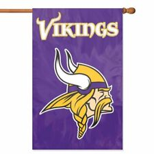MINNESOTA VIKINGS House Banner Flag PREMIUM Outdoor DOUBLE SIDED Embroidered